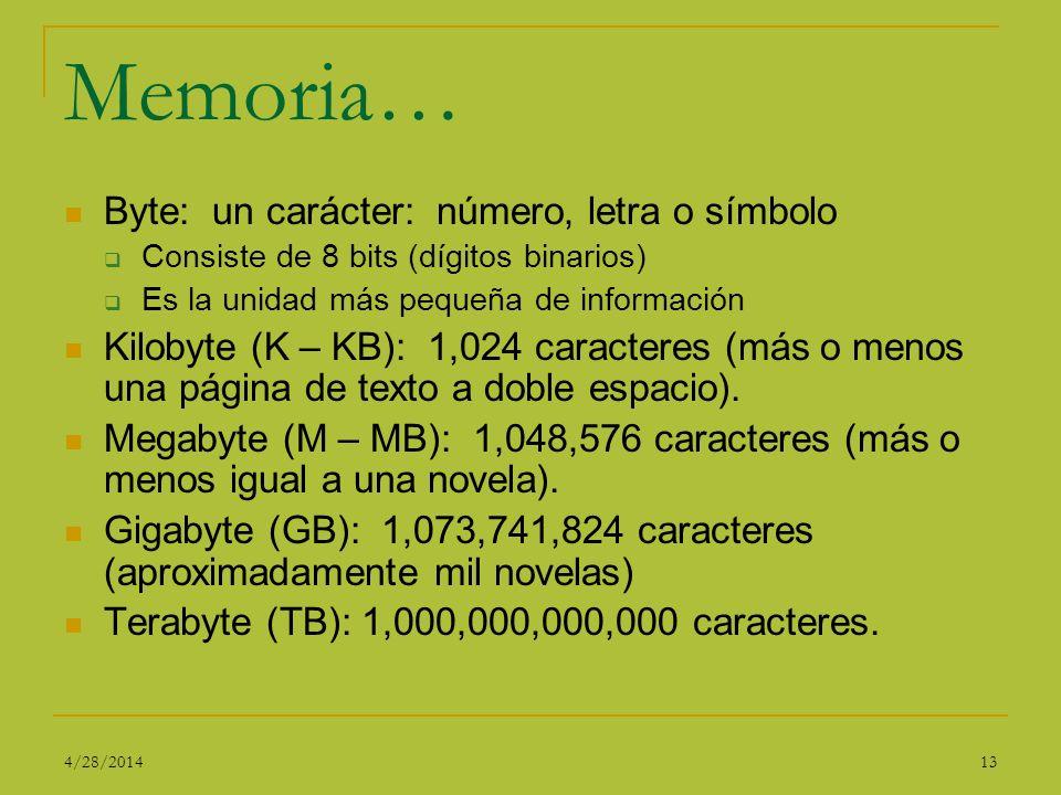 Memoria… Byte: un carácter: número, letra o símbolo Consiste de 8 bits (dígitos binarios) Es la unidad más pequeña de información Kilobyte (K – KB): 1