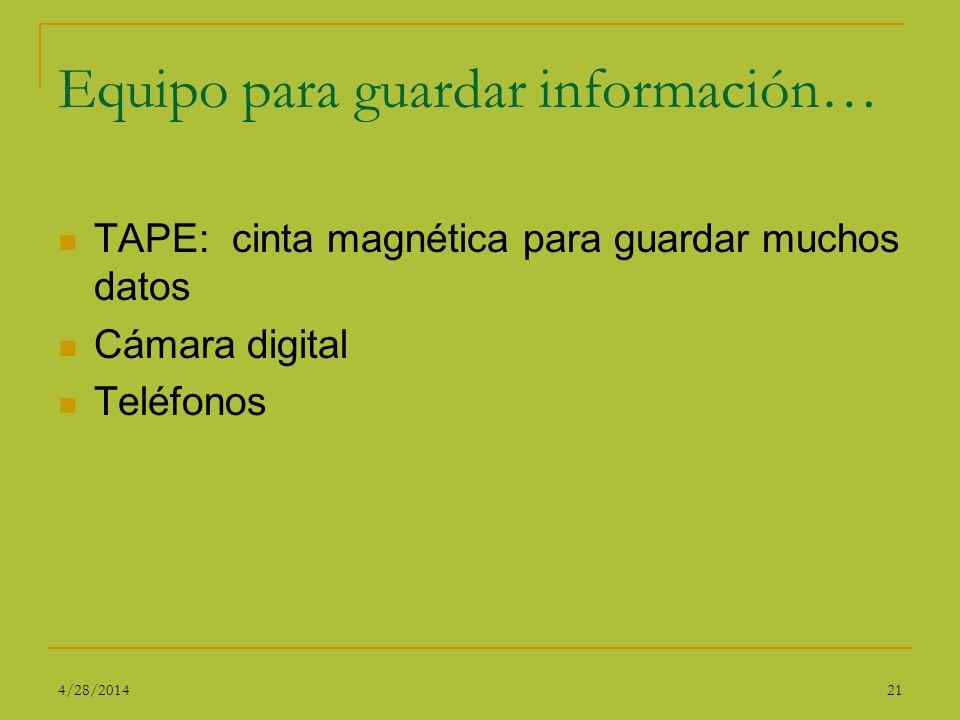 Equipo para guardar información… TAPE: cinta magnética para guardar muchos datos Cámara digital Teléfonos 214/28/2014
