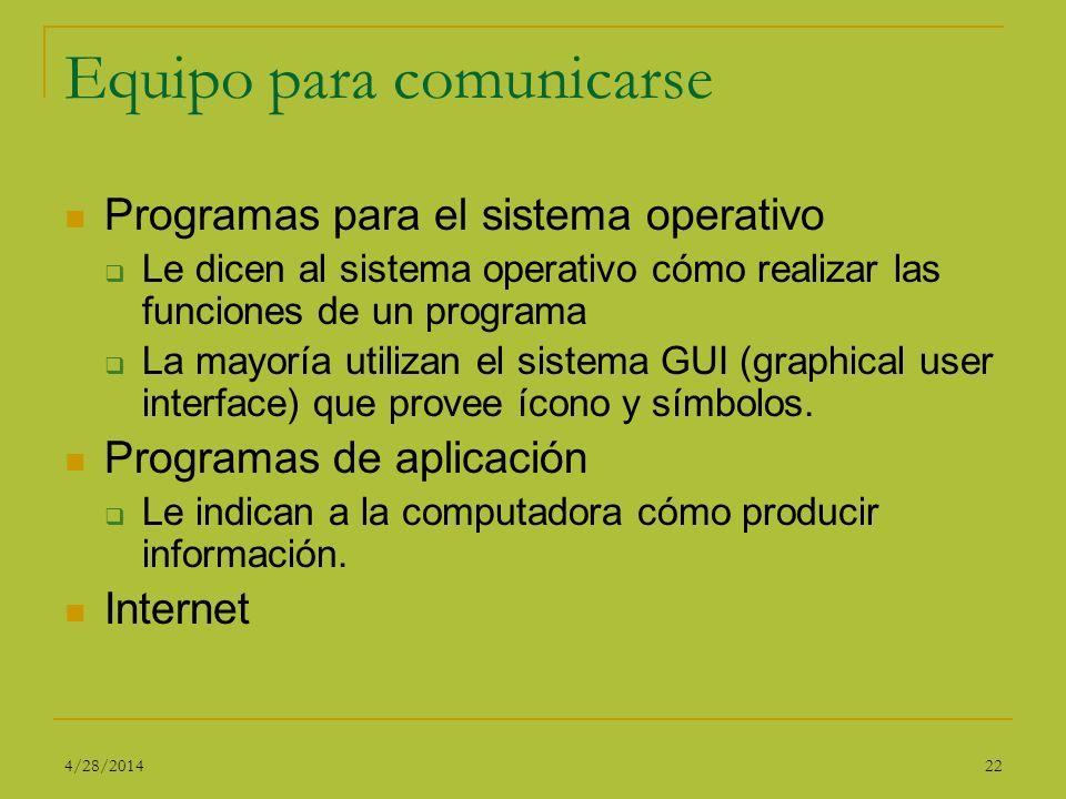 Equipo para comunicarse Programas para el sistema operativo Le dicen al sistema operativo cómo realizar las funciones de un programa La mayoría utiliz