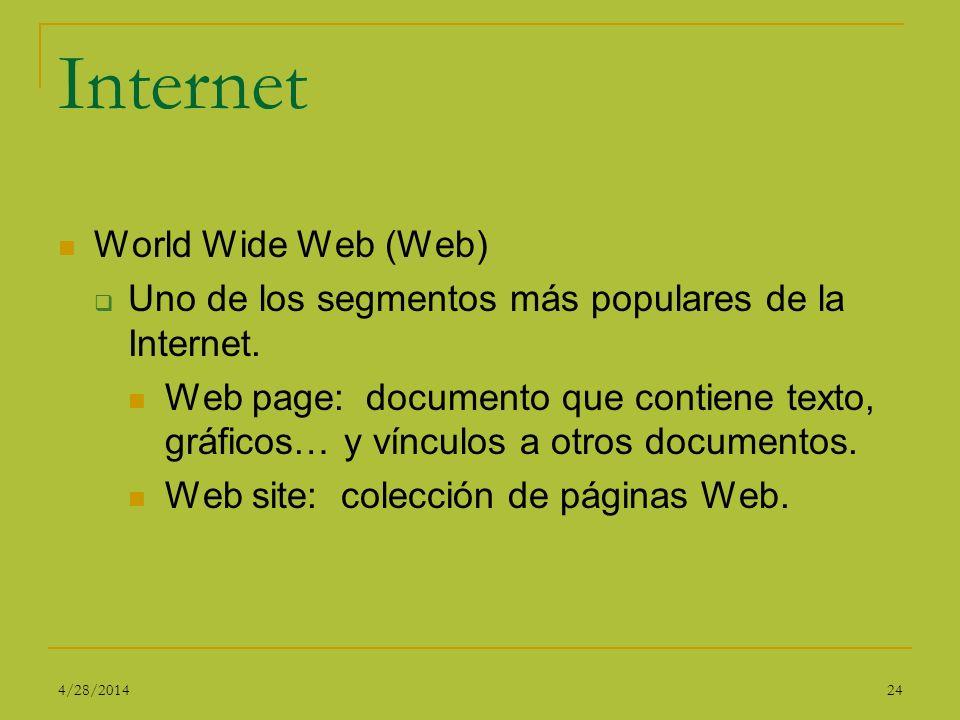 Internet World Wide Web (Web) Uno de los segmentos más populares de la Internet. Web page: documento que contiene texto, gráficos… y vínculos a otros