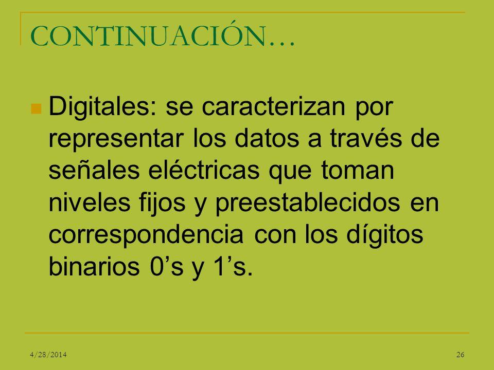 CONTINUACIÓN… Digitales: se caracterizan por representar los datos a través de señales eléctricas que toman niveles fijos y preestablecidos en corresp