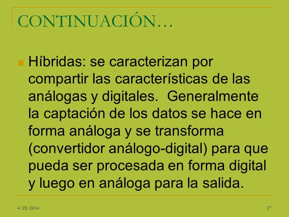 CONTINUACIÓN… Híbridas: se caracterizan por compartir las características de las análogas y digitales. Generalmente la captación de los datos se hace