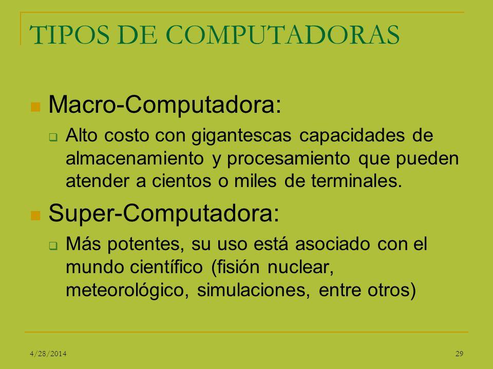 TIPOS DE COMPUTADORAS Macro-Computadora: Alto costo con gigantescas capacidades de almacenamiento y procesamiento que pueden atender a cientos o miles