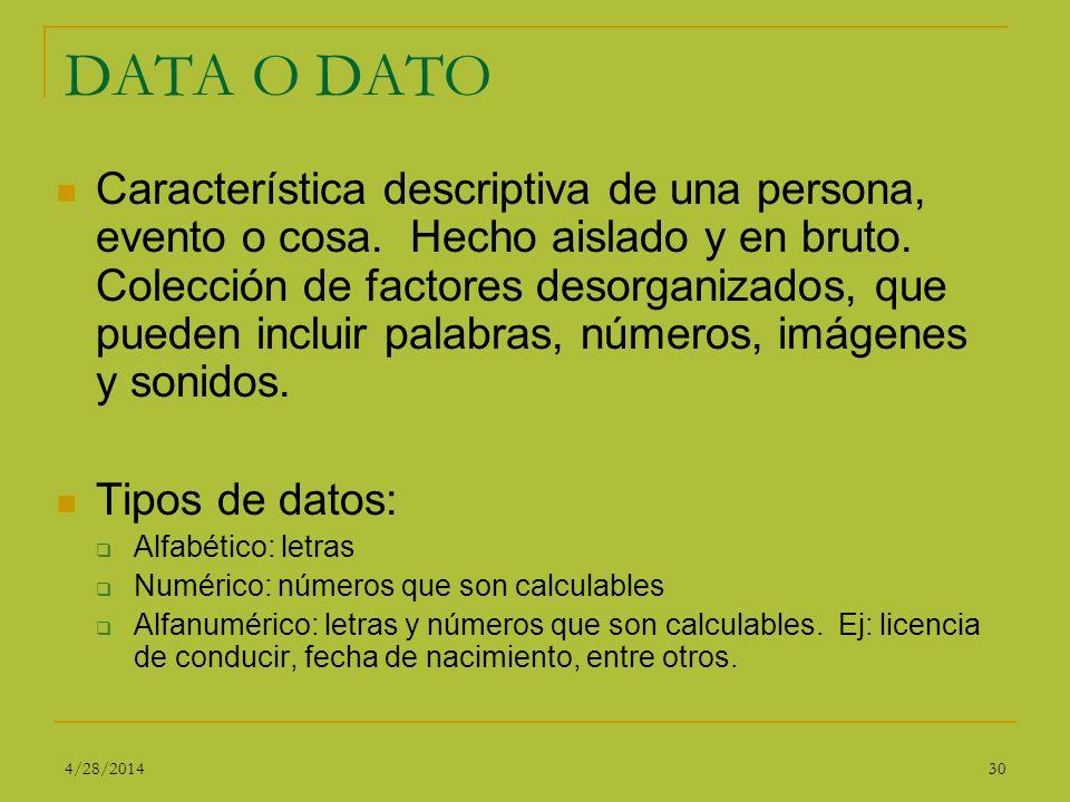 DATA O DATO Característica descriptiva de una persona, evento o cosa. Hecho aislado y en bruto. Colección de factores desorganizados, que pueden inclu