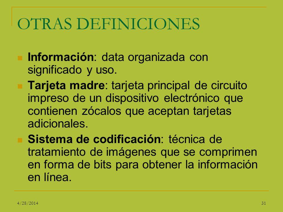 OTRAS DEFINICIONES Información: data organizada con significado y uso. Tarjeta madre: tarjeta principal de circuito impreso de un dispositivo electrón