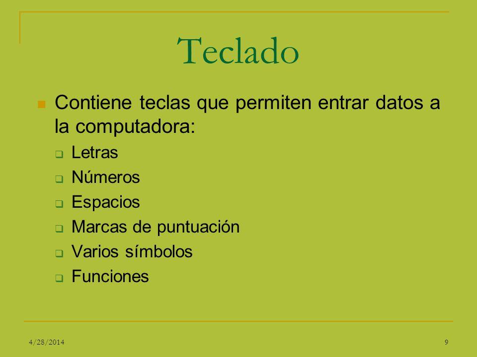 Teclado Contiene teclas que permiten entrar datos a la computadora: Letras Números Espacios Marcas de puntuación Varios símbolos Funciones 94/28/2014