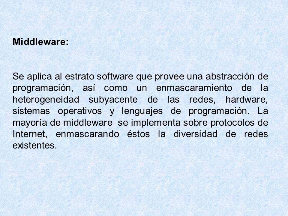 Cualquier middleware trata con las diferencias de sistema operativo y hardware.