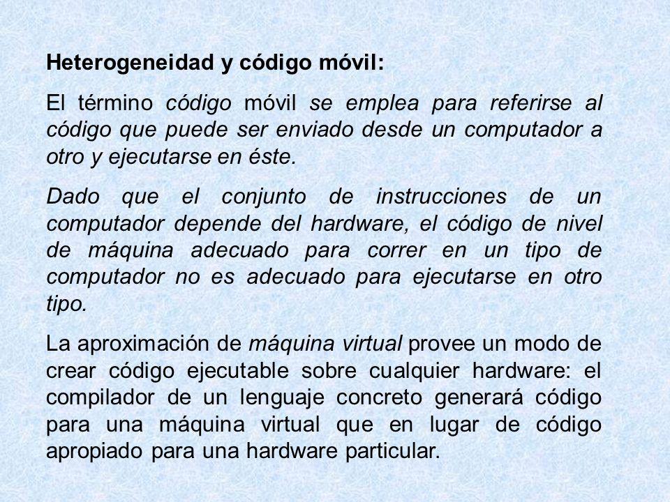 Heterogeneidad y código móvil: El término código móvil se emplea para referirse al código que puede ser enviado desde un computador a otro y ejecutars