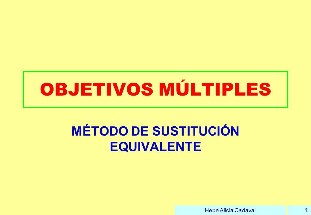Hebe Alicia Cadaval2 EL MÉTODO Trata de sustituir las distintas alternativas por otras que resultan equivalentes (aunque no reales).