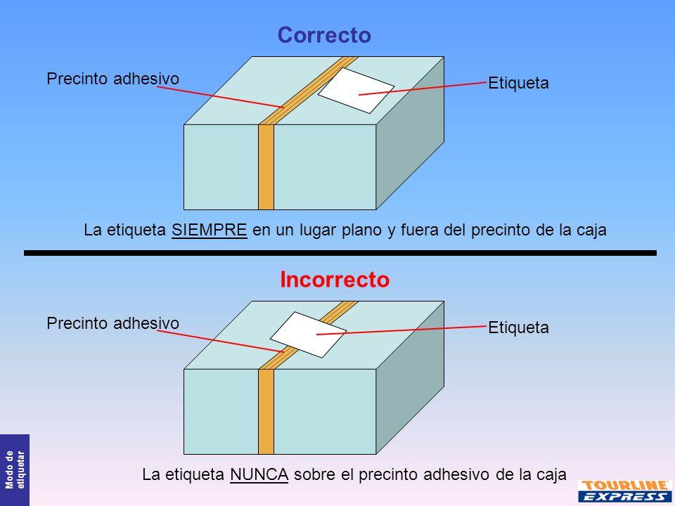 Modo de etiquetar Precinto adhesivo Etiqueta Correcto Incorrecto Precinto adhesivo Etiqueta La etiqueta SIEMPRE en un lugar plano y fuera del precinto