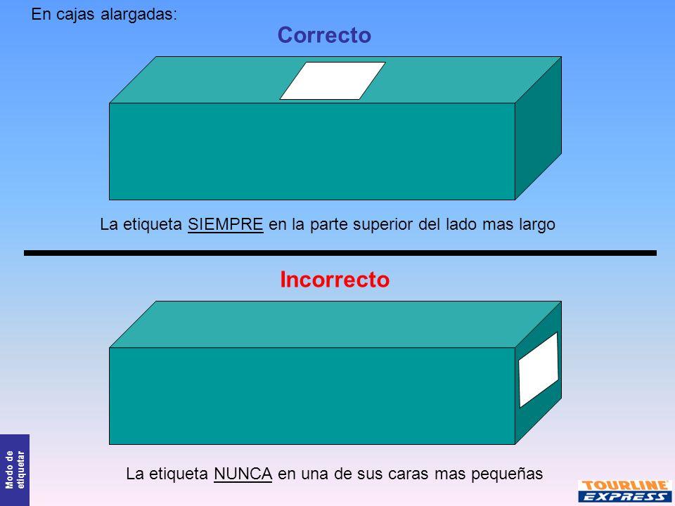Modo de etiquetar Correcto Incorrecto En cajas alargadas: La etiqueta SIEMPRE en la parte superior del lado mas largo La etiqueta NUNCA en una de sus