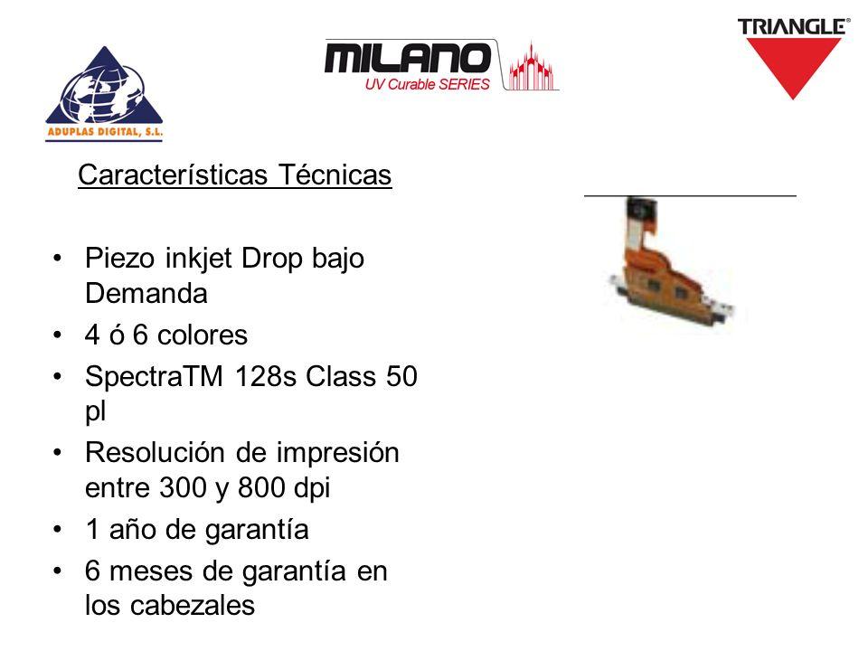 Características Técnicas Piezo inkjet Drop bajo Demanda 4 ó 6 colores SpectraTM 128s Class 50 pl Resolución de impresión entre 300 y 800 dpi 1 año de
