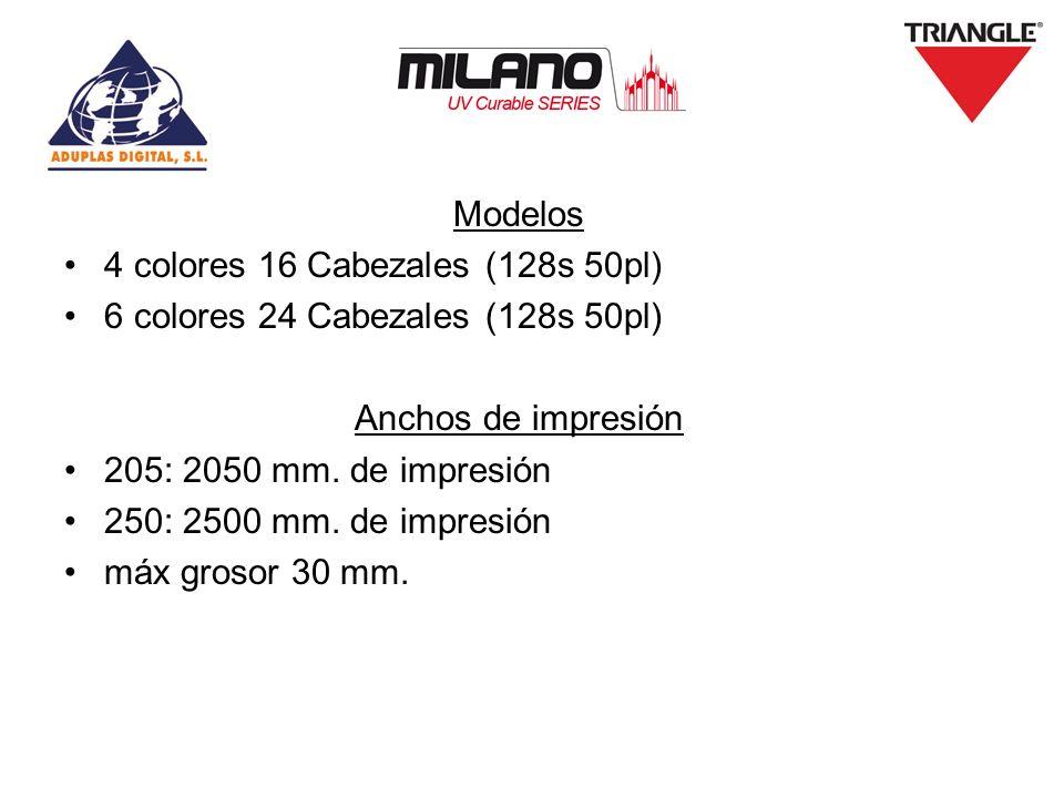 Modelos 4 colores 16 Cabezales (128s 50pl) 6 colores 24 Cabezales (128s 50pl) Anchos de impresión 205: 2050 mm. de impresión 250: 2500 mm. de impresió