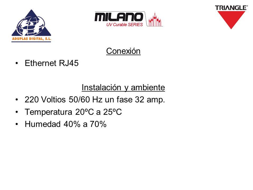 Conexión Ethernet RJ45 Instalación y ambiente 220 Voltios 50/60 Hz un fase 32 amp. Temperatura 20ºC a 25ºC Humedad 40% a 70%
