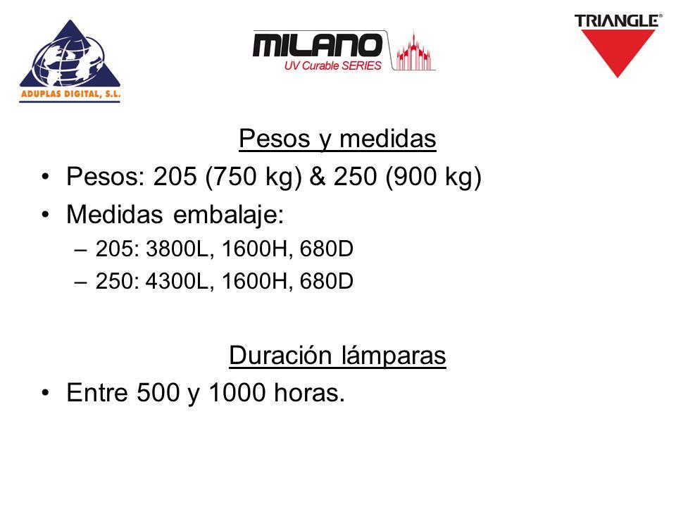Pesos y medidas Pesos: 205 (750 kg) & 250 (900 kg) Medidas embalaje: –205: 3800L, 1600H, 680D –250: 4300L, 1600H, 680D Duración lámparas Entre 500 y 1000 horas.