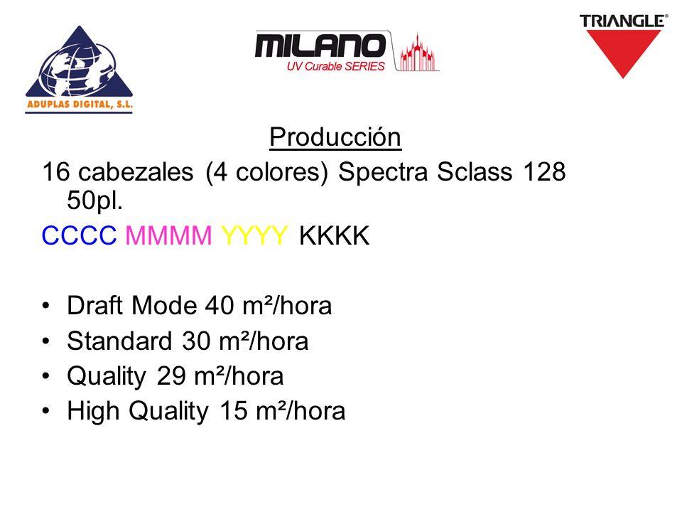 Producción 16 cabezales (4 colores) Spectra Sclass 128 50pl. CCCC MMMM YYYY KKKK Draft Mode 40 m²/hora Standard 30 m²/hora Quality 29 m²/hora High Qua