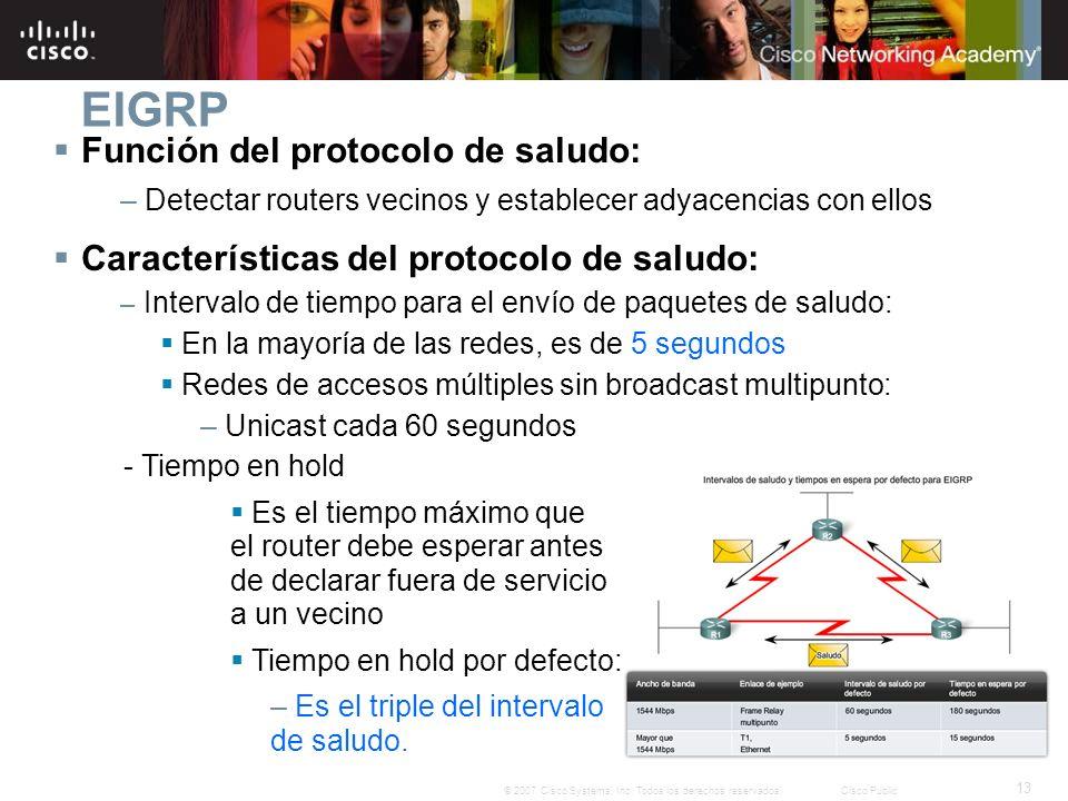 13 © 2007 Cisco Systems, Inc. Todos los derechos reservados.Cisco Public EIGRP Función del protocolo de saludo: – Detectar routers vecinos y establece
