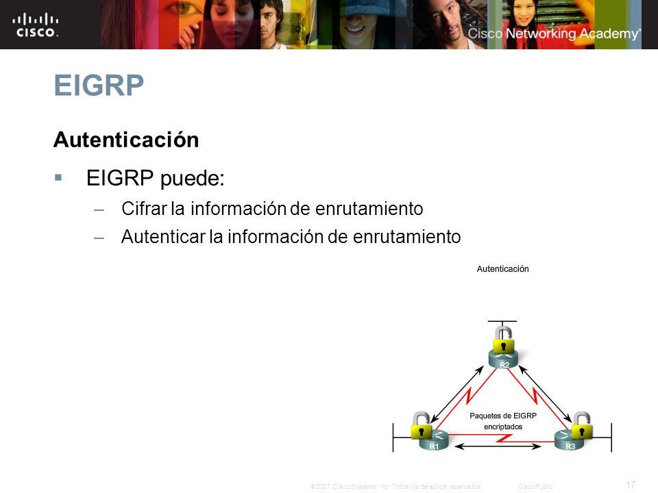 17 © 2007 Cisco Systems, Inc. Todos los derechos reservados.Cisco Public EIGRP Autenticación EIGRP puede: –Cifrar la información de enrutamiento –Aute