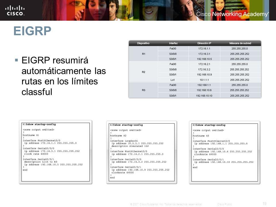 19 © 2007 Cisco Systems, Inc. Todos los derechos reservados.Cisco Public EIGRP EIGRP resumirá automáticamente las rutas en los límites classful
