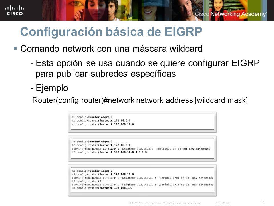 24 © 2007 Cisco Systems, Inc. Todos los derechos reservados.Cisco Public Configuración básica de EIGRP Comando network con una máscara wildcard - Esta