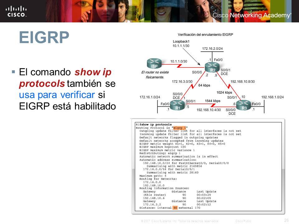 26 © 2007 Cisco Systems, Inc. Todos los derechos reservados.Cisco Public EIGRP El comando show ip protocols también se usa para verificar si EIGRP est