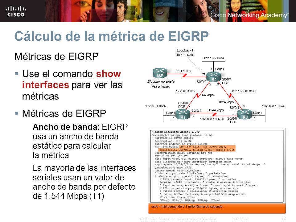 32 © 2007 Cisco Systems, Inc. Todos los derechos reservados.Cisco Public Cálculo de la métrica de EIGRP Métricas de EIGRP Use el comando show interfac