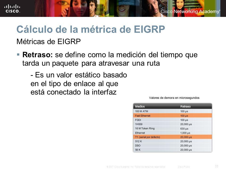33 © 2007 Cisco Systems, Inc. Todos los derechos reservados.Cisco Public Cálculo de la métrica de EIGRP Métricas de EIGRP Retraso: se define como la m