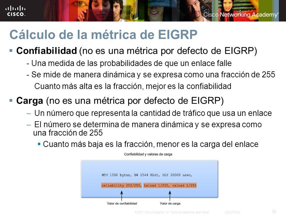 34 © 2007 Cisco Systems, Inc. Todos los derechos reservados.Cisco Public Cálculo de la métrica de EIGRP Confiabilidad (no es una métrica por defecto d