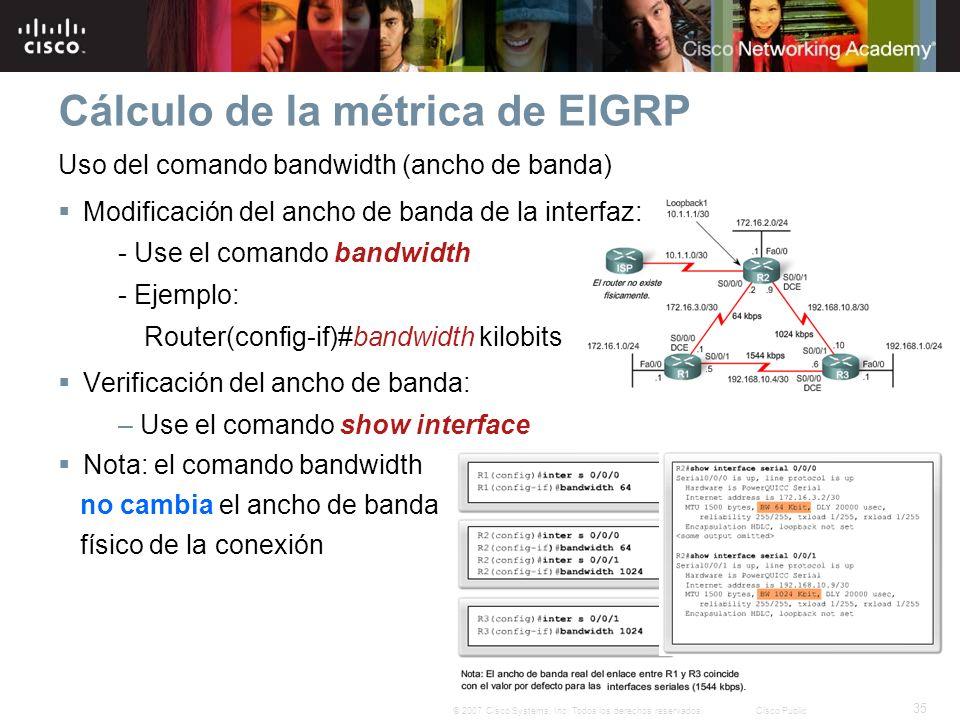 35 © 2007 Cisco Systems, Inc. Todos los derechos reservados.Cisco Public Cálculo de la métrica de EIGRP Uso del comando bandwidth (ancho de banda) Mod