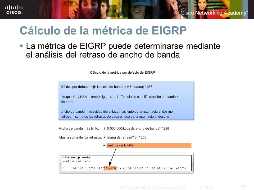 36 © 2007 Cisco Systems, Inc. Todos los derechos reservados.Cisco Public Cálculo de la métrica de EIGRP La métrica de EIGRP puede determinarse mediant