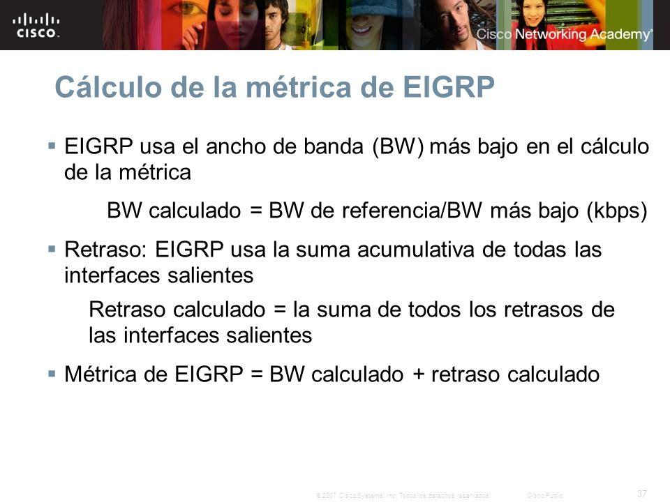 37 © 2007 Cisco Systems, Inc. Todos los derechos reservados.Cisco Public Cálculo de la métrica de EIGRP EIGRP usa el ancho de banda (BW) más bajo en e