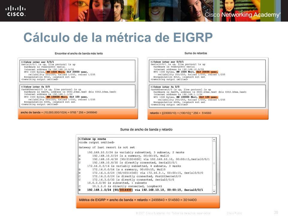38 © 2007 Cisco Systems, Inc. Todos los derechos reservados.Cisco Public Cálculo de la métrica de EIGRP