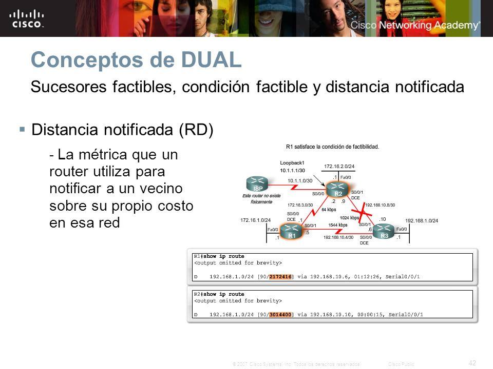42 © 2007 Cisco Systems, Inc. Todos los derechos reservados.Cisco Public Conceptos de DUAL Distancia notificada (RD) - La métrica que un router utiliz