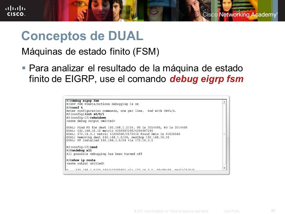 49 © 2007 Cisco Systems, Inc. Todos los derechos reservados.Cisco Public Conceptos de DUAL Máquinas de estado finito (FSM) Para analizar el resultado
