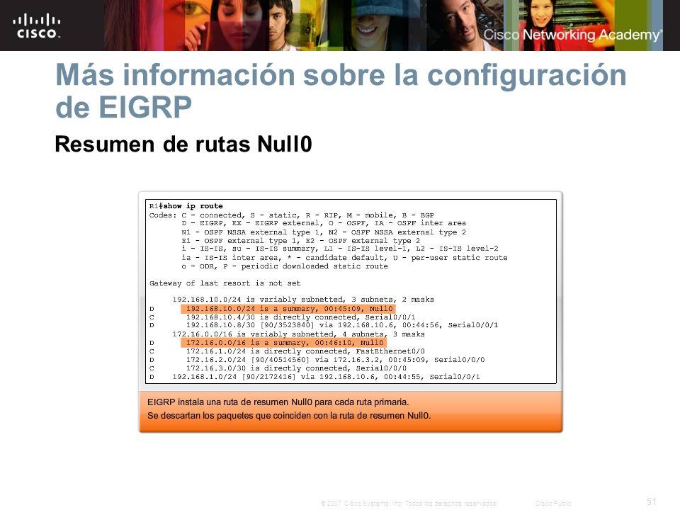 51 © 2007 Cisco Systems, Inc. Todos los derechos reservados.Cisco Public Más información sobre la configuración de EIGRP Resumen de rutas Null0