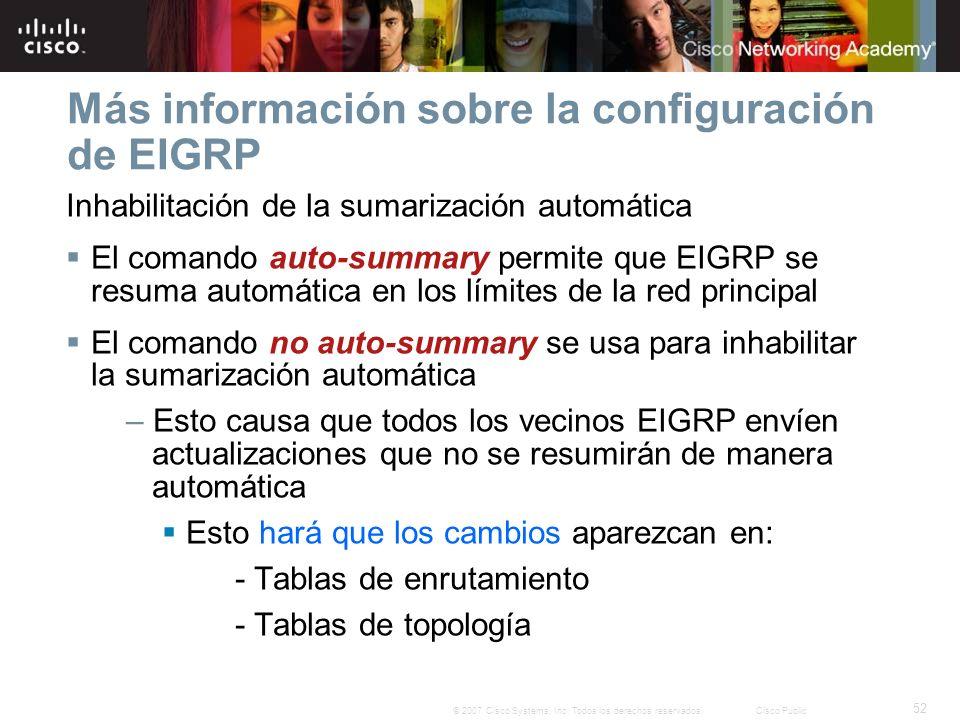 52 © 2007 Cisco Systems, Inc. Todos los derechos reservados.Cisco Public Más información sobre la configuración de EIGRP Inhabilitación de la sumariza