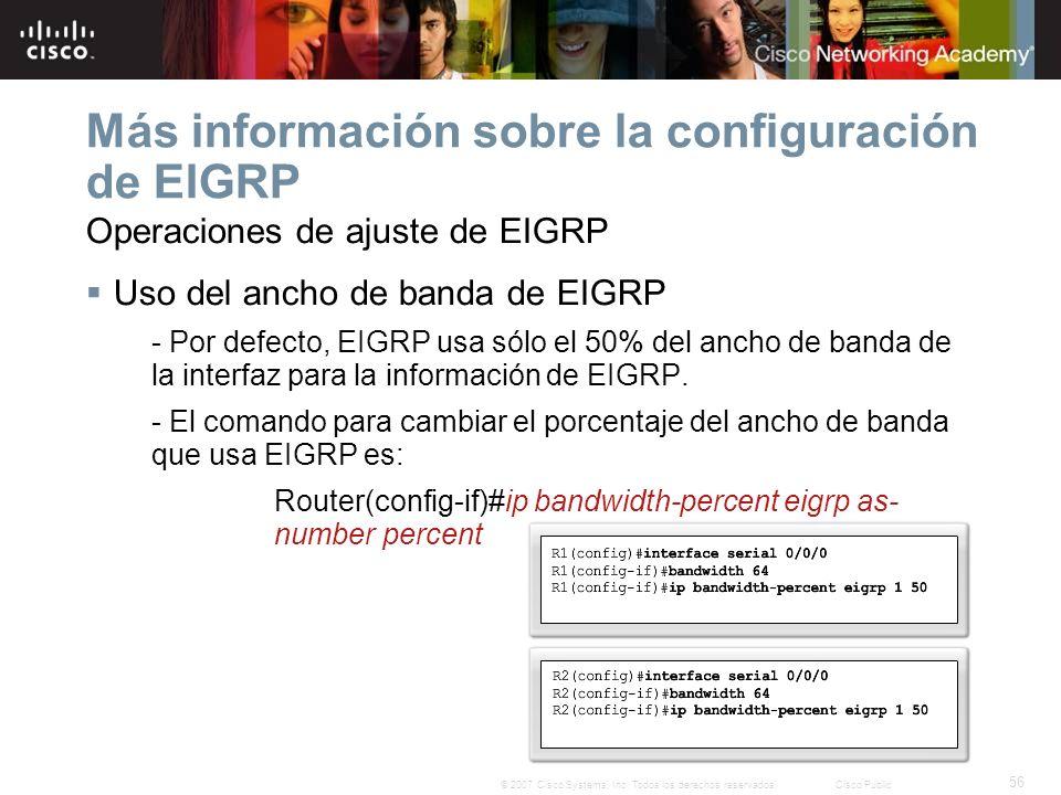 56 © 2007 Cisco Systems, Inc. Todos los derechos reservados.Cisco Public Más información sobre la configuración de EIGRP Operaciones de ajuste de EIGR