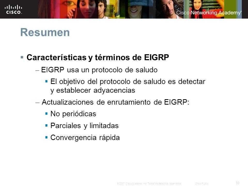 59 © 2007 Cisco Systems, Inc. Todos los derechos reservados.Cisco Public Resumen Características y términos de EIGRP – EIGRP usa un protocolo de salud
