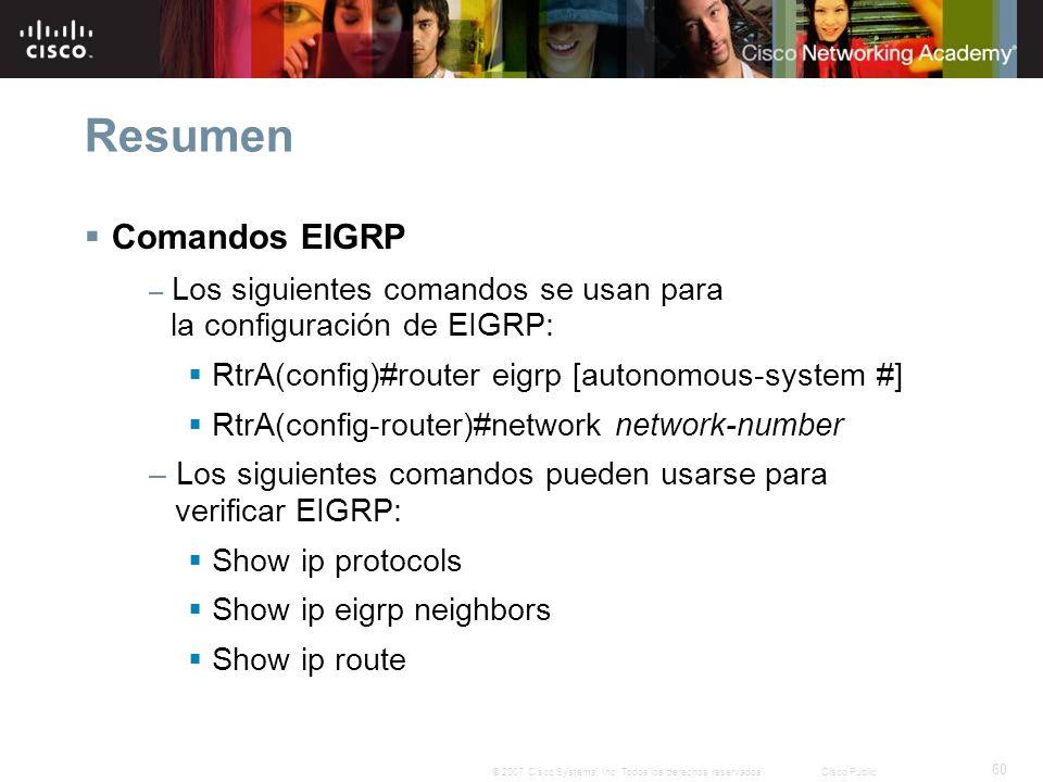 60 © 2007 Cisco Systems, Inc. Todos los derechos reservados.Cisco Public Resumen Comandos EIGRP – Los siguientes comandos se usan para la configuració