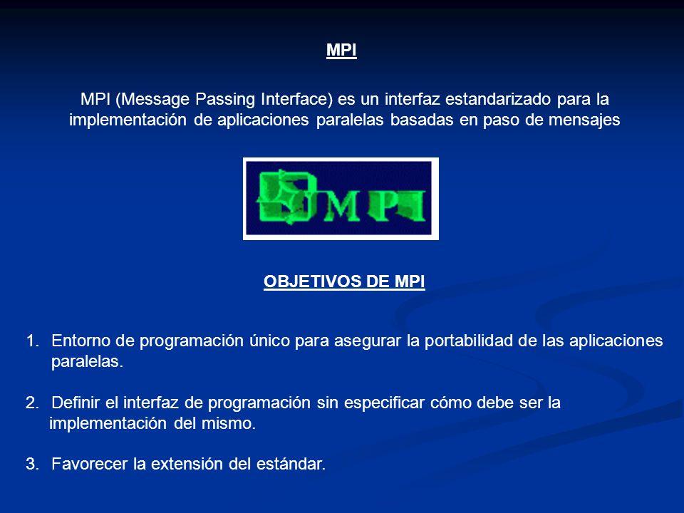 MPI MPI (Message Passing Interface) es un interfaz estandarizado para la implementación de aplicaciones paralelas basadas en paso de mensajes OBJETIVO