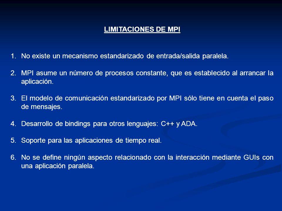 LIMITACIONES DE MPI 1.No existe un mecanismo estandarizado de entrada/salida paralela. 2.MPI asume un número de procesos constante, que es establecido