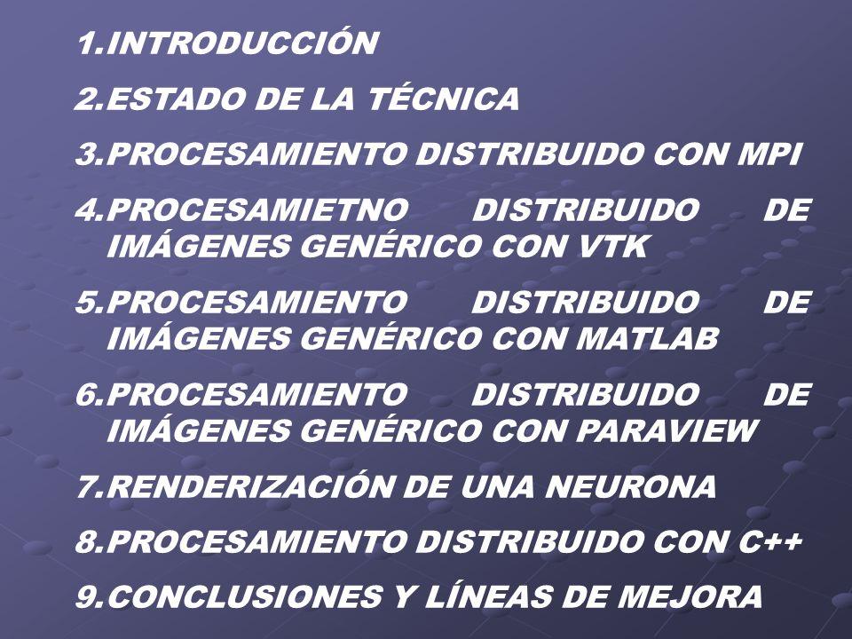 1.INTRODUCCIÓN 2.ESTADO DE LA TÉCNICA 3.PROCESAMIENTO DISTRIBUIDO CON MPI 4.PROCESAMIETNO DISTRIBUIDO DE IMÁGENES GENÉRICO CON VTK 5.PROCESAMIENTO DIS