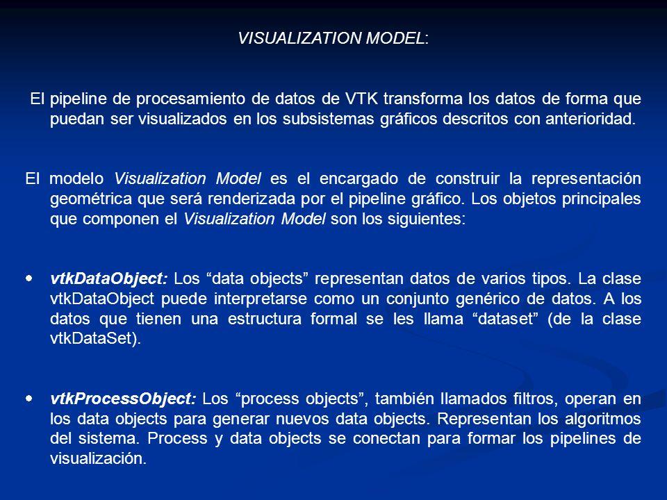 VISUALIZATION MODEL: El pipeline de procesamiento de datos de VTK transforma los datos de forma que puedan ser visualizados en los subsistemas gráfico