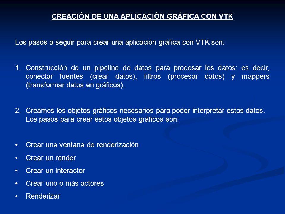 CREACIÓN DE UNA APLICACIÓN GRÁFICA CON VTK Los pasos a seguir para crear una aplicación gráfica con VTK son: 1.Construcción de un pipeline de datos pa