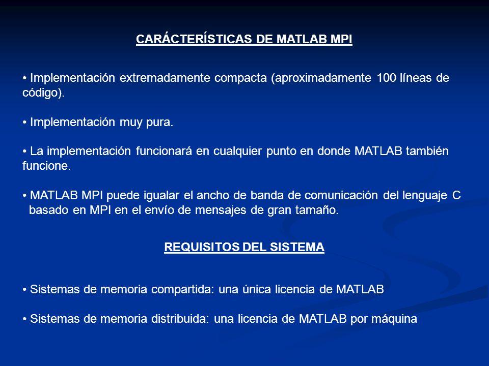CARÁCTERÍSTICAS DE MATLAB MPI Implementación extremadamente compacta (aproximadamente 100 líneas de código). Implementación muy pura. La implementació