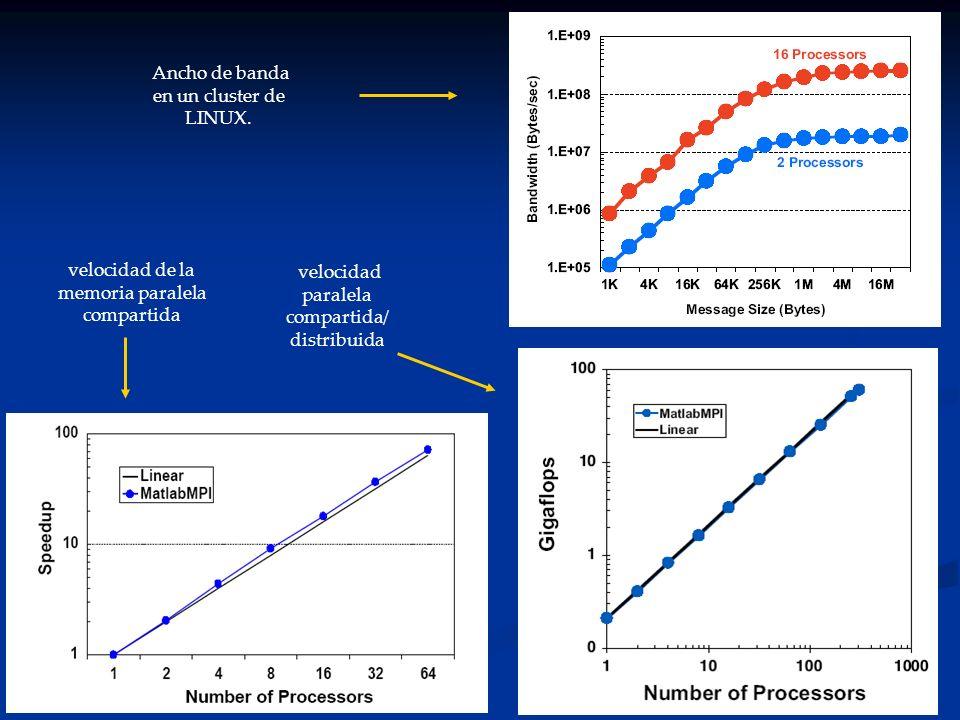 Ancho de banda en un cluster de LINUX. velocidad de la memoria paralela compartida velocidad paralela compartida/ distribuida