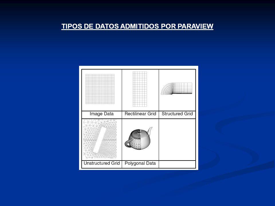 TIPOS DE DATOS ADMITIDOS POR PARAVIEW