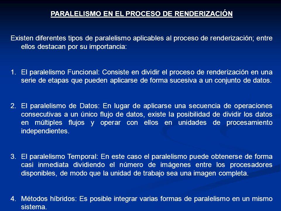 PARALELISMO EN EL PROCESO DE RENDERIZACIÓN Existen diferentes tipos de paralelismo aplicables al proceso de renderización; entre ellos destacan por su