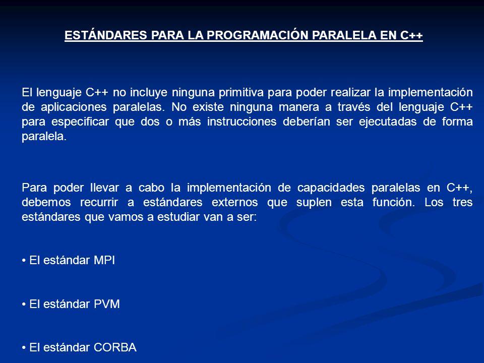 ESTÁNDARES PARA LA PROGRAMACIÓN PARALELA EN C++ El lenguaje C++ no incluye ninguna primitiva para poder realizar la implementación de aplicaciones par
