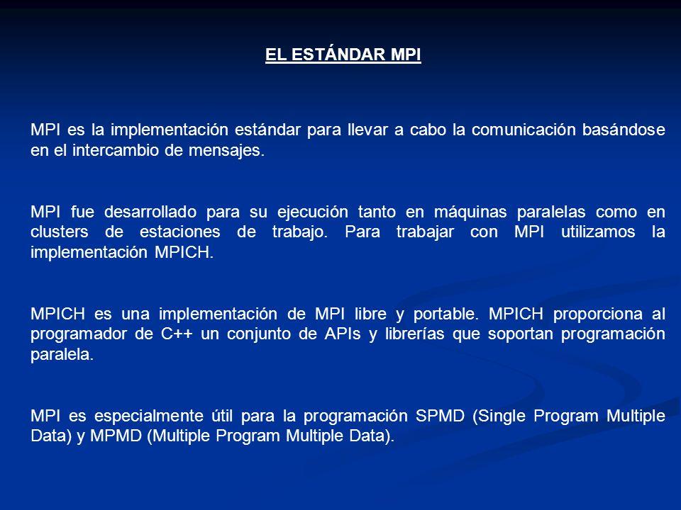 EL ESTÁNDAR MPI MPI es la implementación estándar para llevar a cabo la comunicación basándose en el intercambio de mensajes. MPI fue desarrollado par
